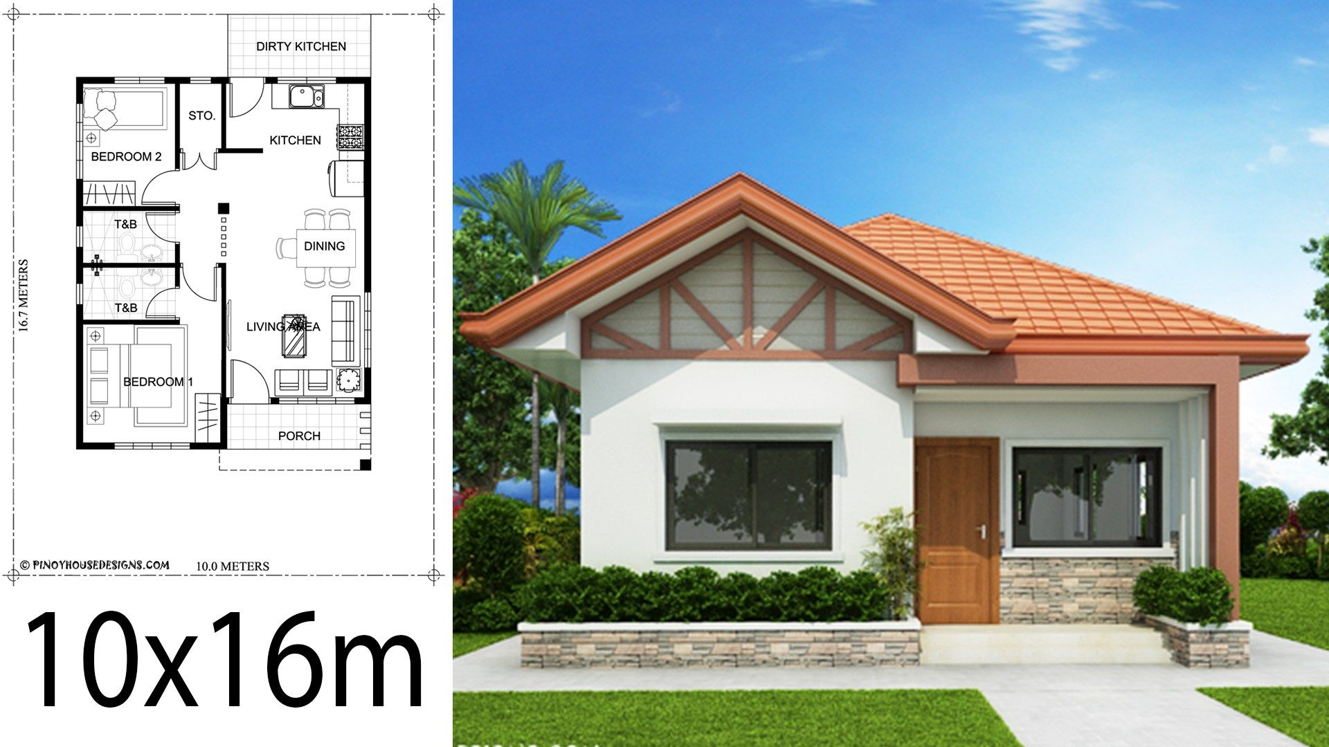 Home Design Plan 10x16m With 2 Bedrooms House Description One Car Parking And Garden Gr Small House Design Plans Affordable House Plans Bungalow House Design