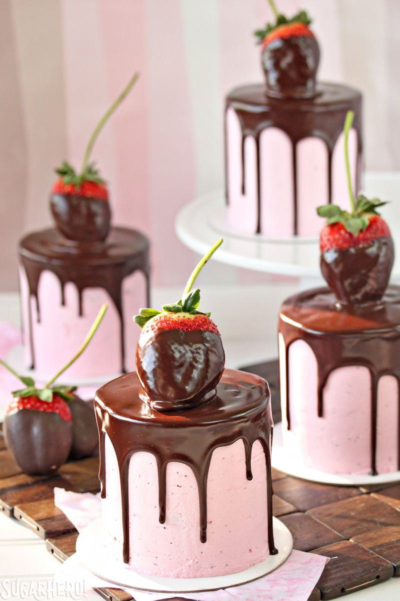 Mini Chocolate Covered Strawberry Layer Cakes for Two - The Cake Merchant