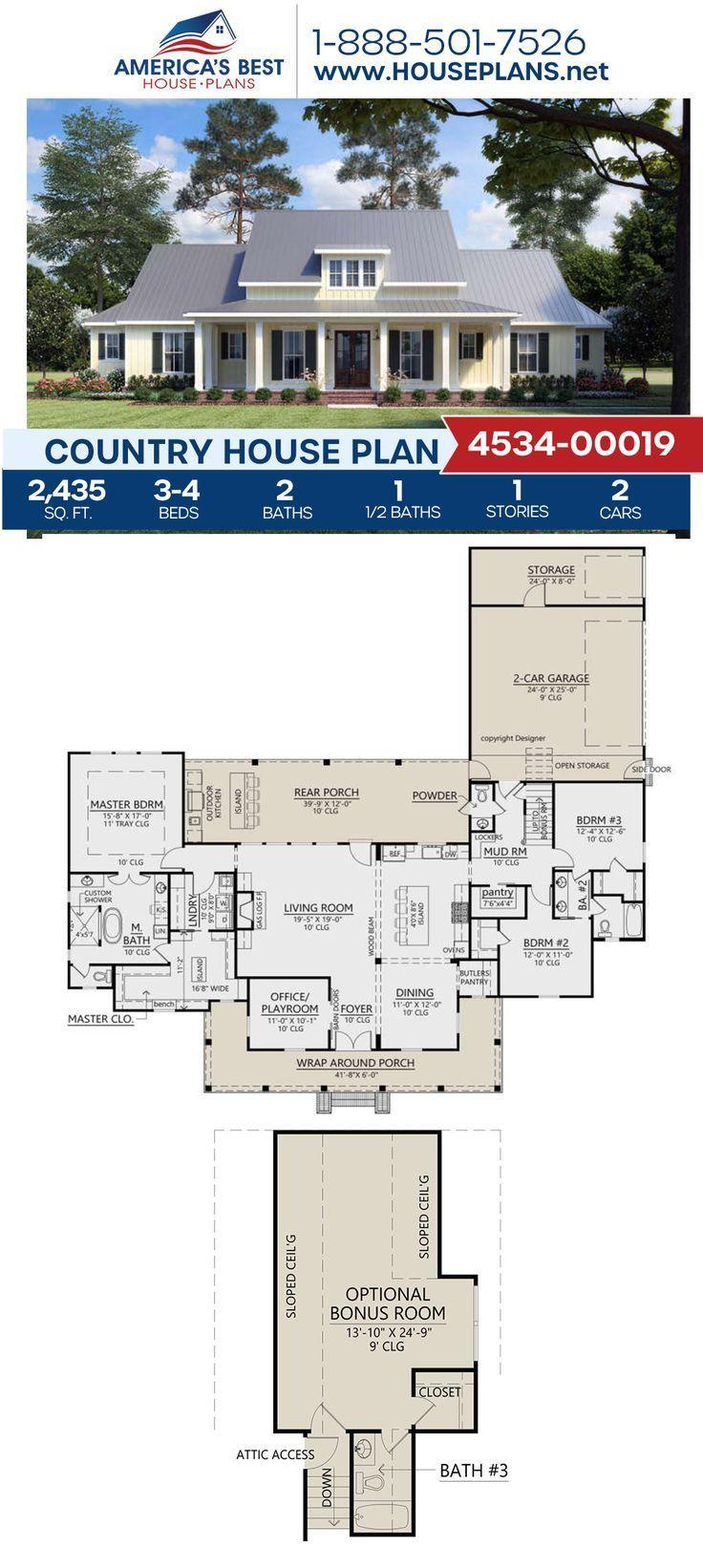 House Plan 4534 Modern Farmhouse Plan 2 435 Square Feet 3 4 Bedrooms 2 5 Bathrooms