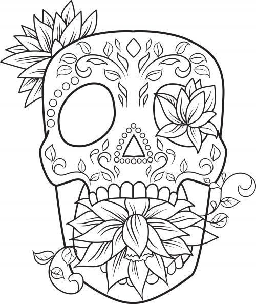 sugar skull coloring page 20 - Simple Sugar Skull Coloring Pages