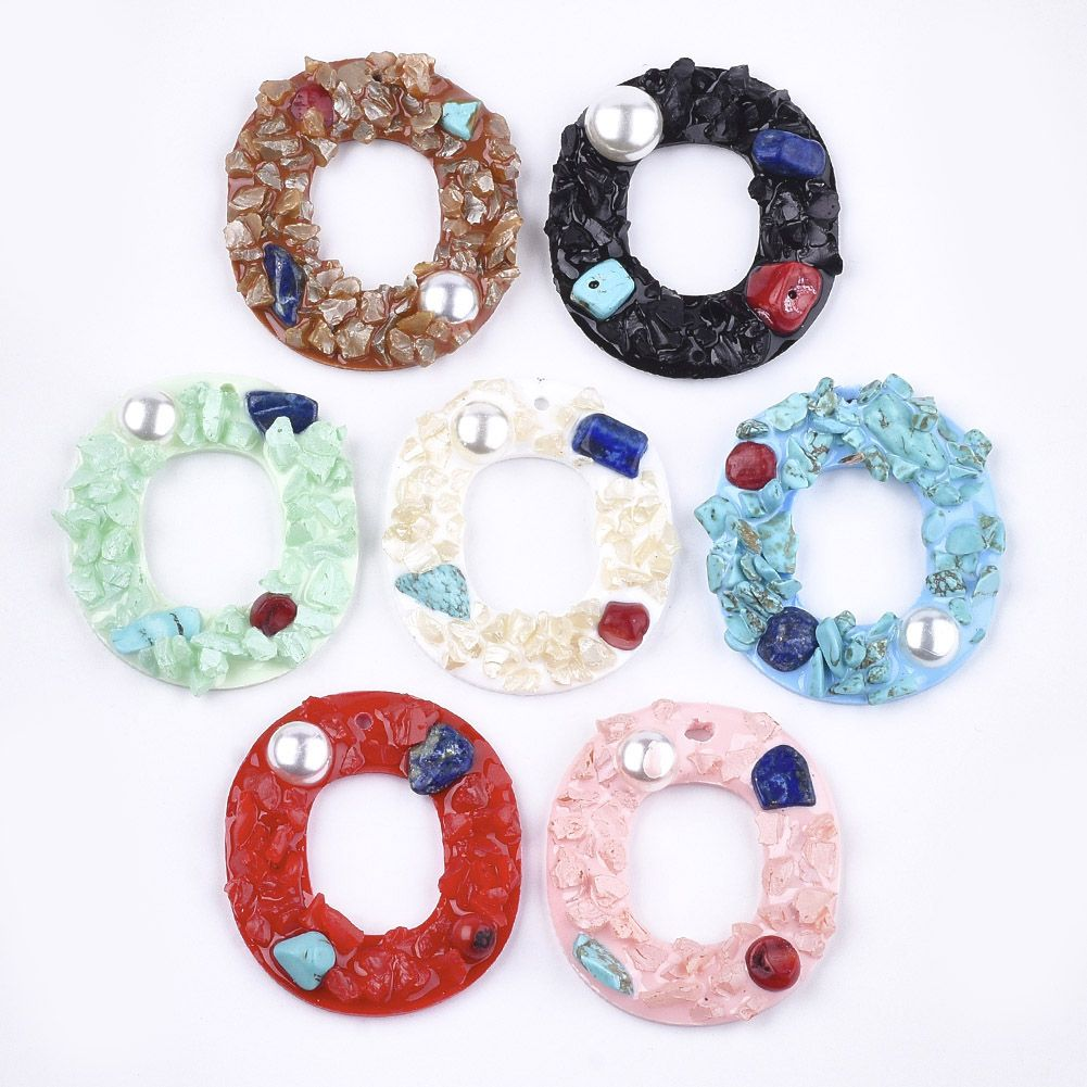 PandaHall Resin Pendants, with Natural & Synthetic Gemstone