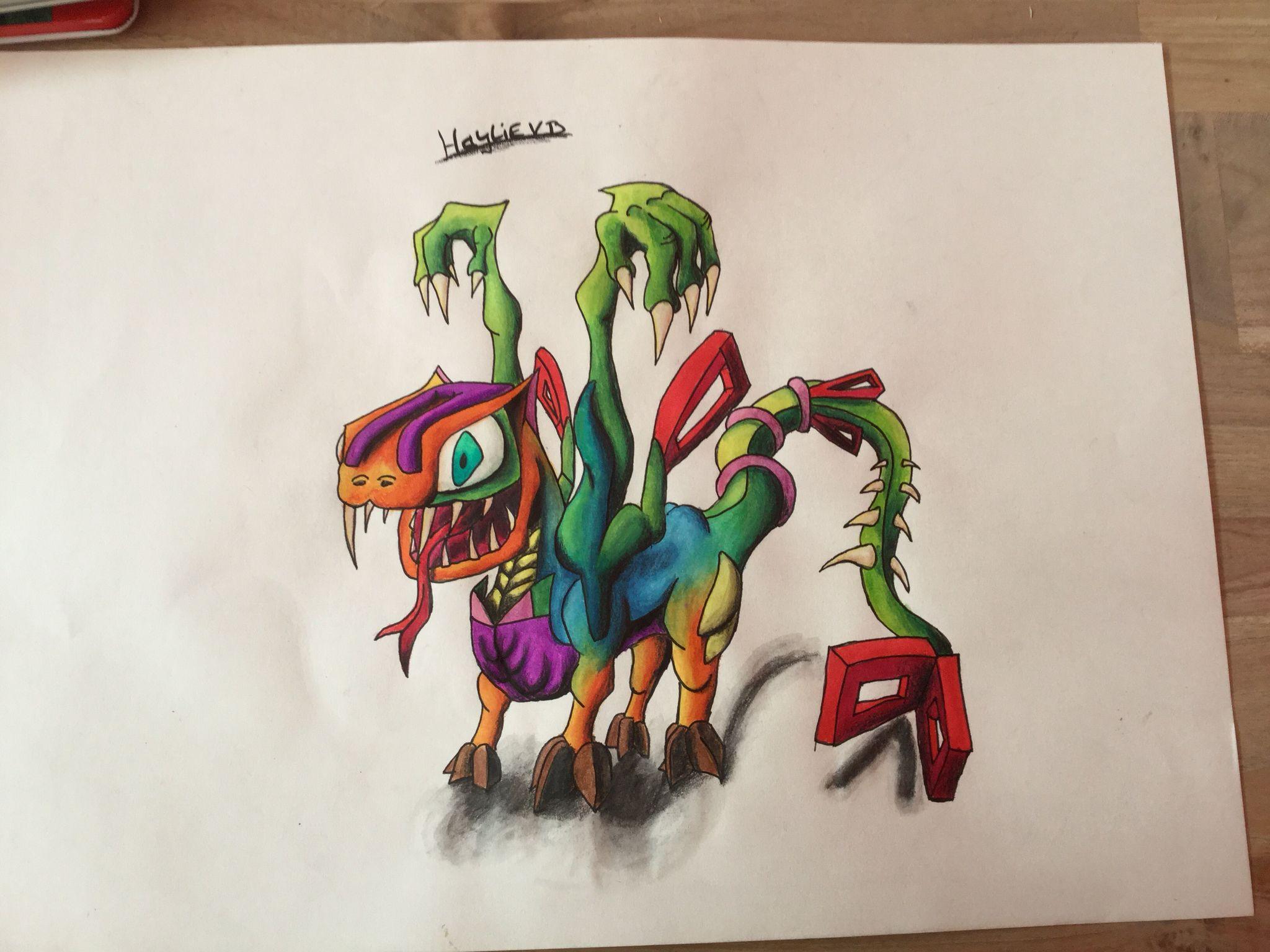 Eigen tekening draak , monster
