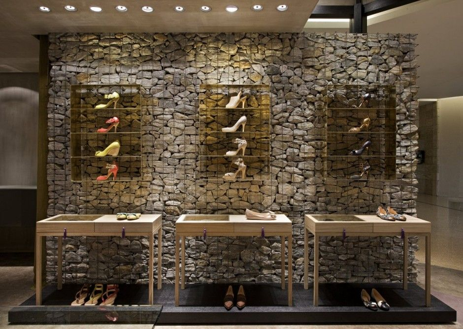Rock Wall Design interior rock wall design code d12 interior rock wall design code d11 Decorative Gabions Stones Rock Walls At The Belo Horizonte Retail Location For Brazilian Shoe Brand Luiza Barcelos Designer Pedro Lazarohas Used Rocks