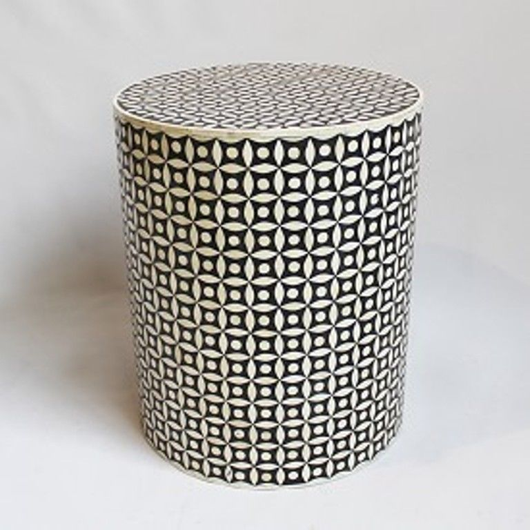 Bone Inlay Side Table Black for decorative or use at home