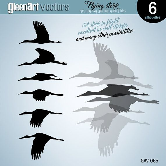 SVG Monogram Images for Cut Files or Prints Vector Clip Art Flock of Stork Stencil Studio Silhouette Black