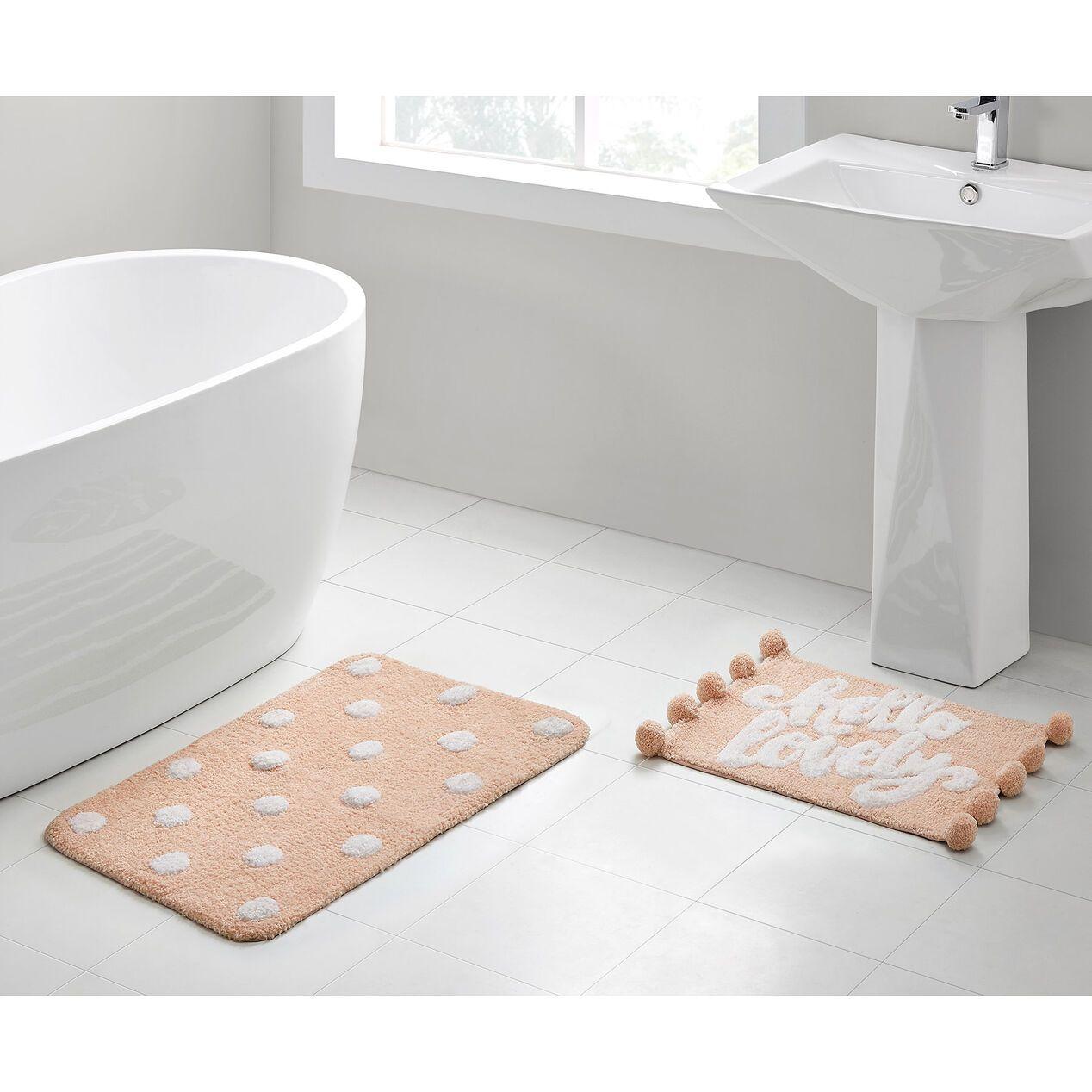 Hello Lovely 2pc Rug Set Pink In 2020 Bathroom Rugs Cute Bath Mats Bath Rugs Sets [ 1268 x 1268 Pixel ]