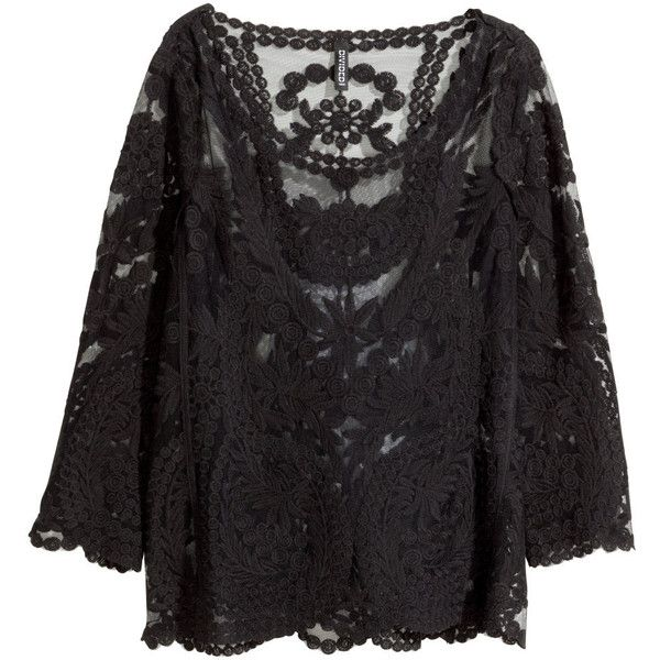 f4178f1fe90 H&M Lace top ($18) ❤ liked on Polyvore featuring tops, h&m, shirts ...