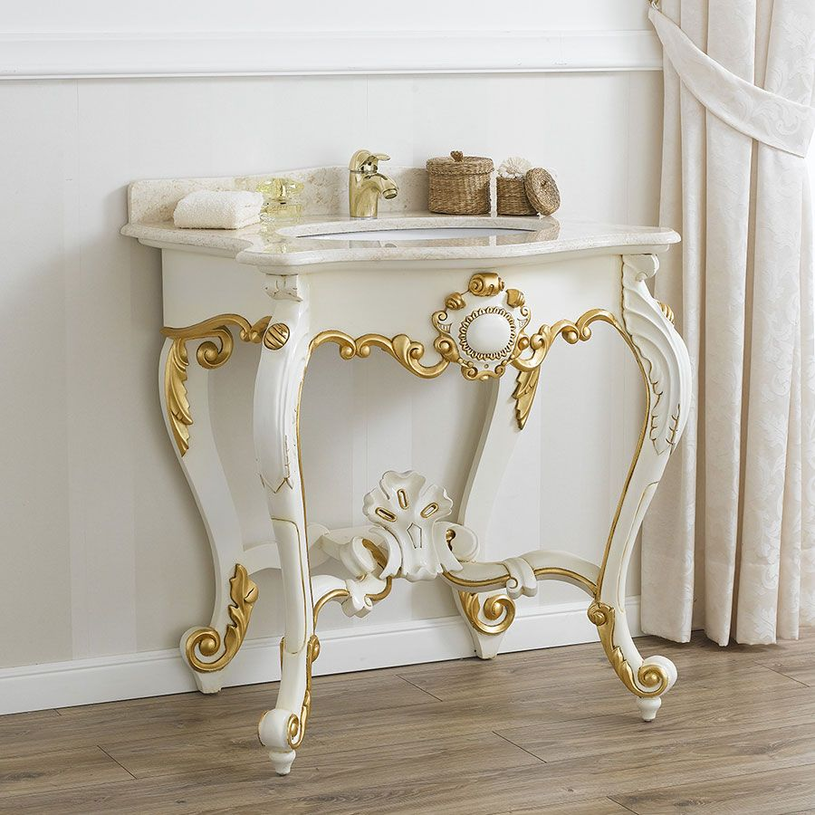 Consolle stile barocco colore bianco con riporti in foglia for Arredo bagno barocco