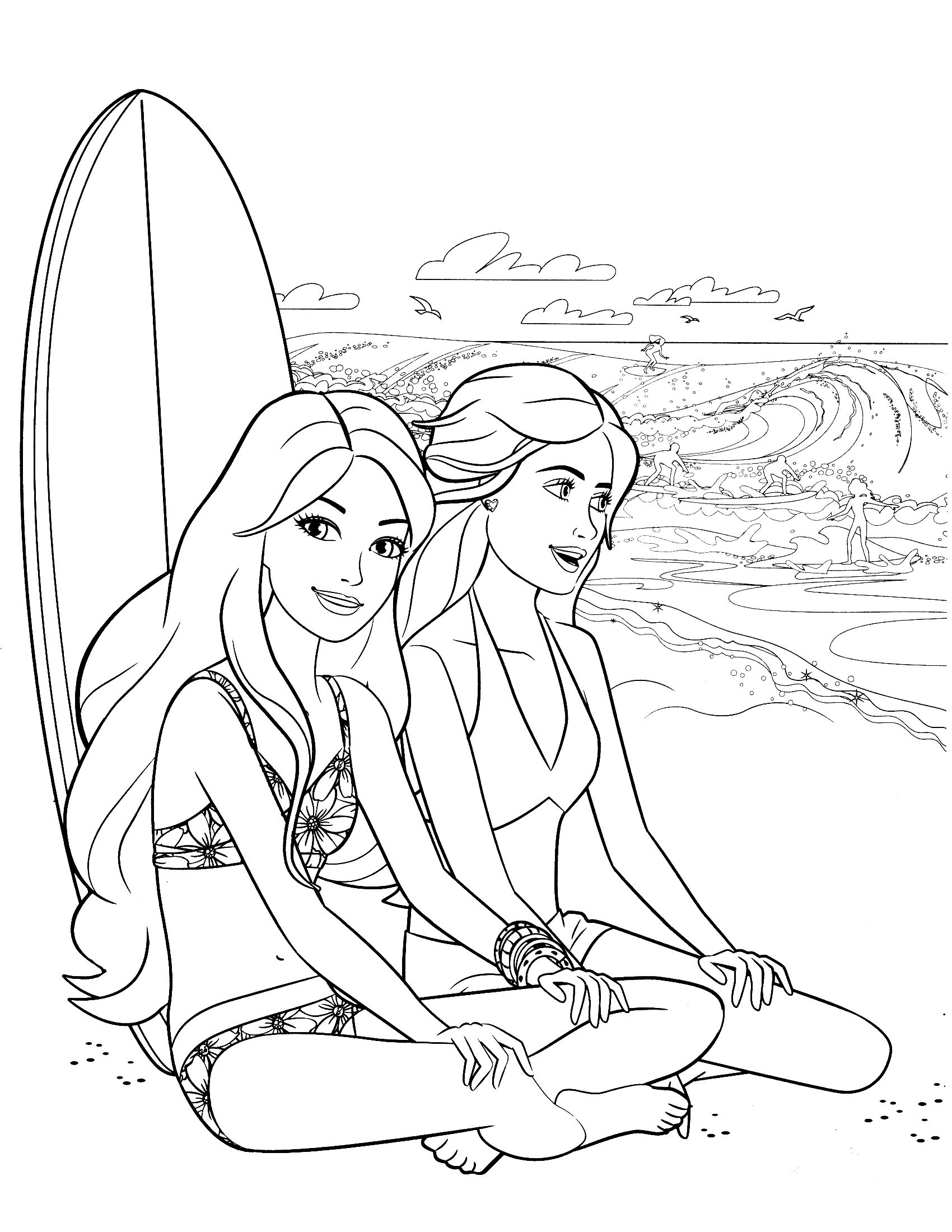 570 Barbie Beach Coloring Pages  Images