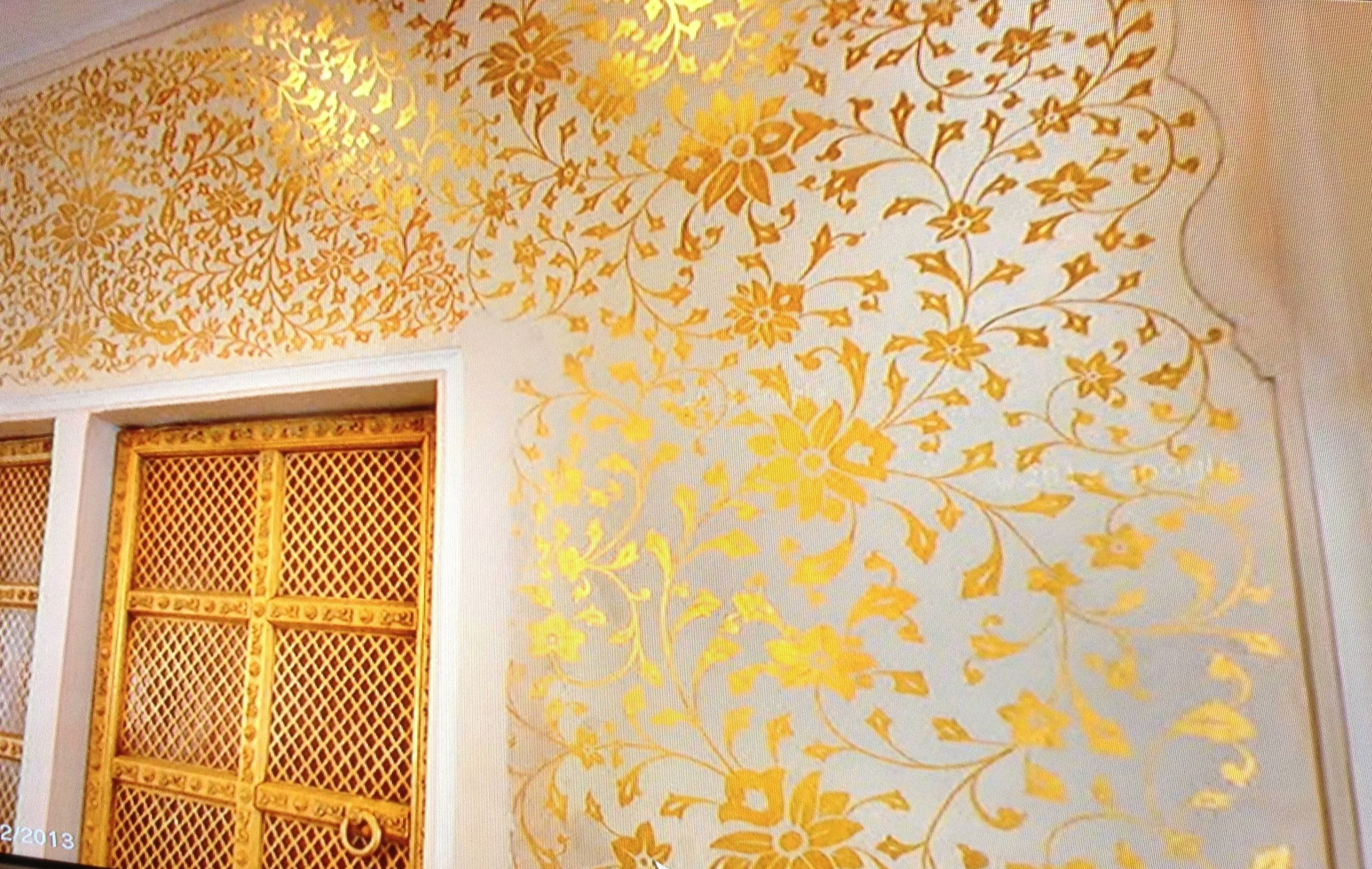 Indian Arch Gold Stencil Home Wallpaper Wall Painting Indian