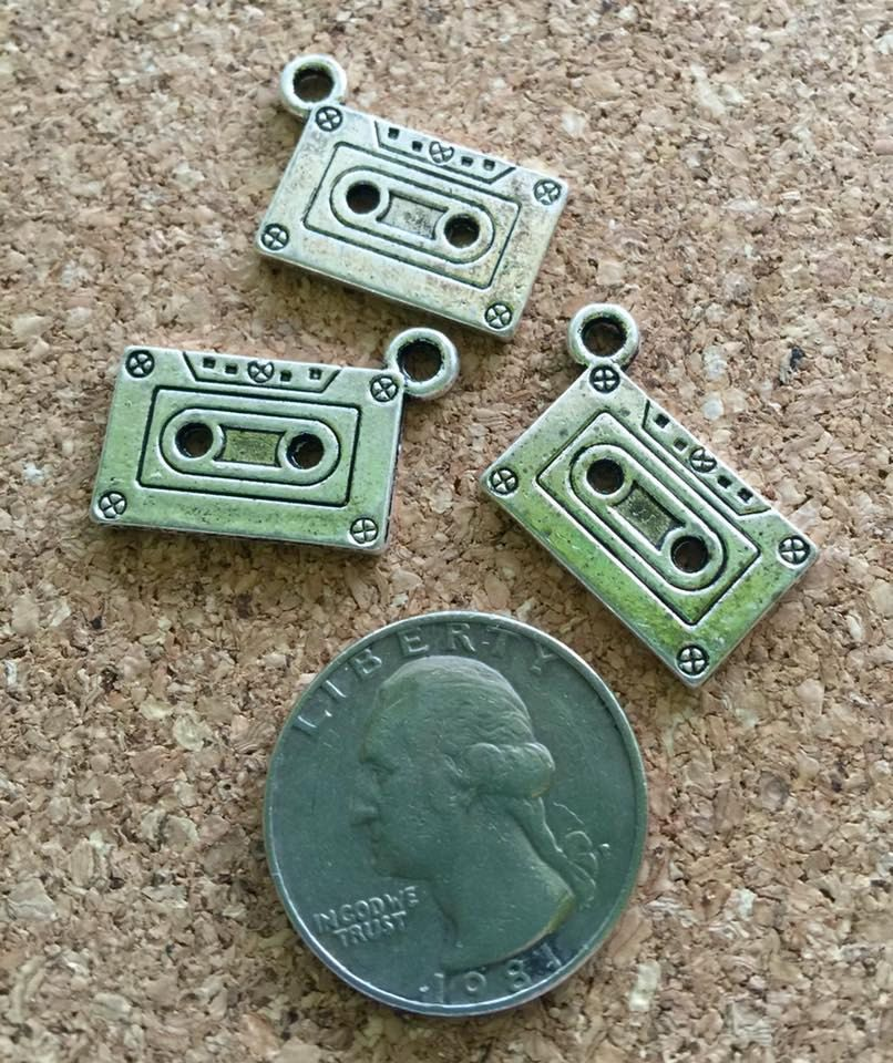 3 pcs ~ Old school cassette tape charms, new, lead free. by BuildUrBling on Etsy