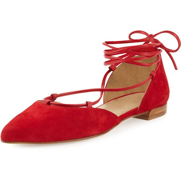 Stuart Weitzman Gilligan Lace-Up d'Orsay Flat (€380) ❤ liked on Polyvore featuring shoes, flats, red, lace up pointed toe flats, ankle strap flats, flat pumps, self tying shoes and red pointed toe flats
