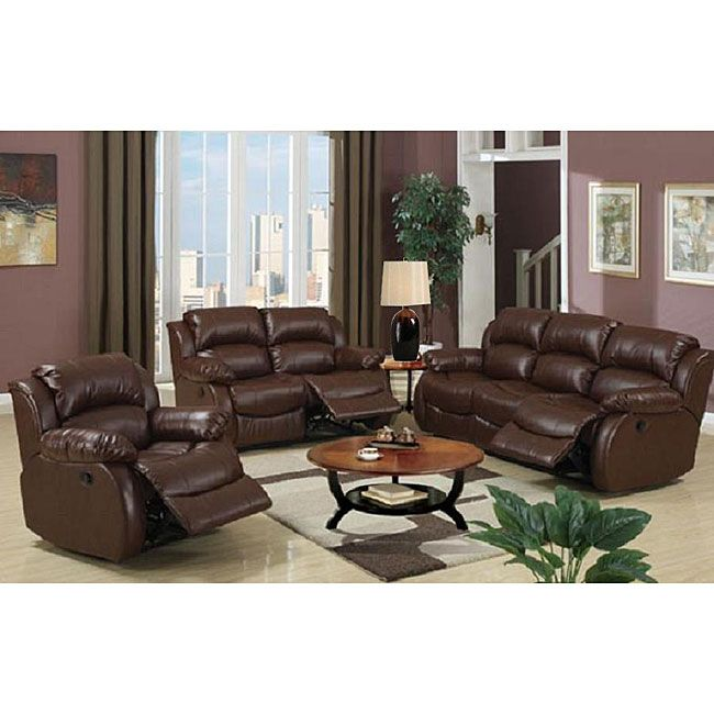 Malibu 8piece Brown Bonded Leather Hardwood Living Room Set