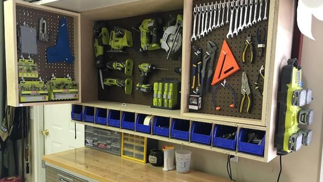 Make A Fold Out, Space Saving Tool Storage Cabinet For Your Garage Or