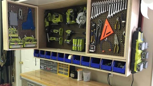 Make a fold out space saving tool storage cabinet for your garage make a fold out space saving tool storage cabinet for your garage or workshop lifehacker australia solutioingenieria Gallery
