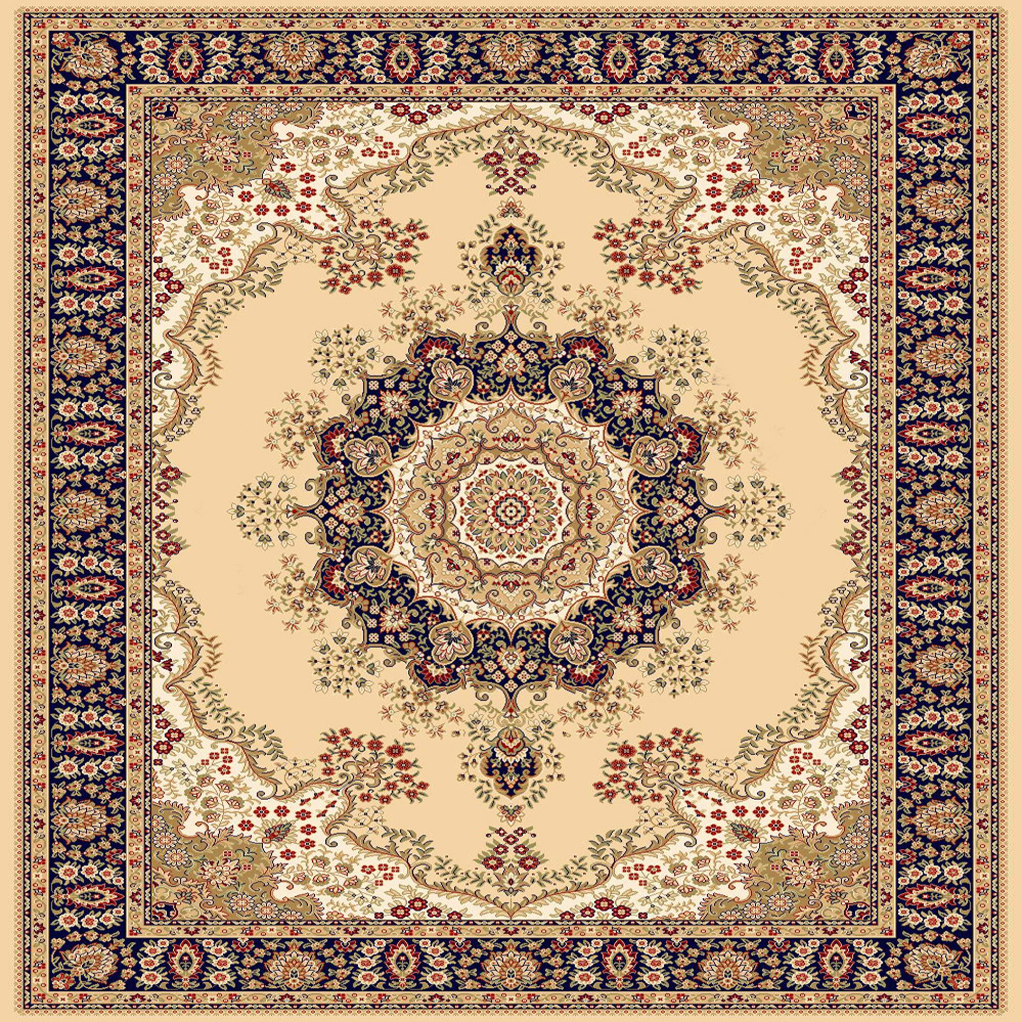 Beige Square Persian Design Area Rug 7ft Square Area Rug Design Rugs Area Rugs