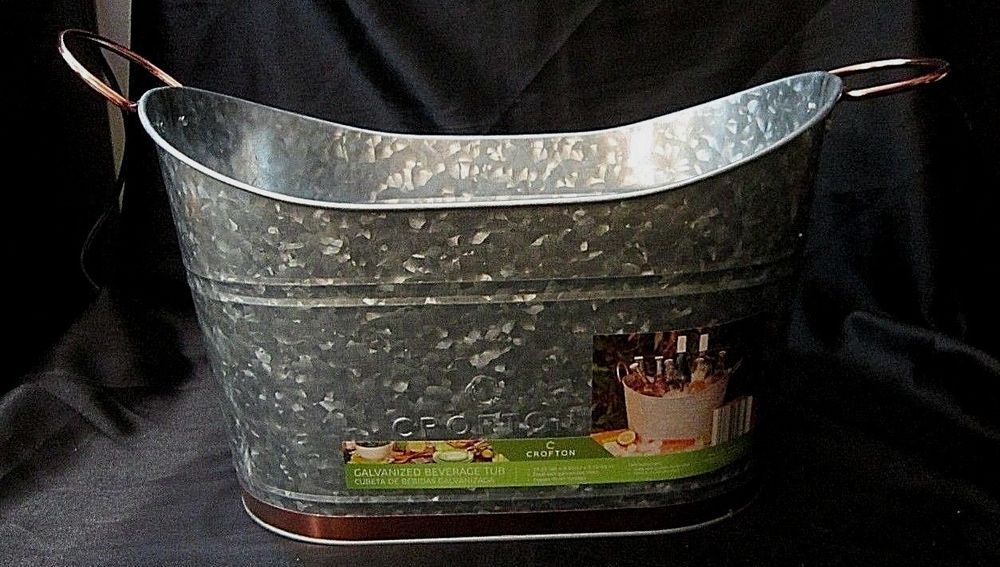 Nwot Galvanized Steel Party Beverage Tub W Copper Finish Handles