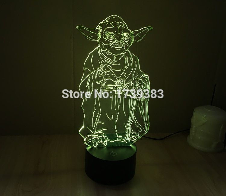 Free Shipping 1 Piece 3d Led Mood Lamp Bulb Lighting 3d Star Wars Master Yoda Led Little Night Light Holiday Decor Mood Lamps Star Wars Bathroom Star Wars Yoda