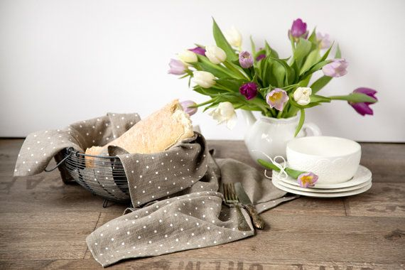 Stone washed linen tea towels set of 2 by CozyLinen on Etsy  #linentowel #naturaltowels #teatowel #kitchentowels #dishcloth  #polkadots #stonewashed #softenedlinen