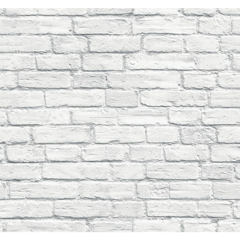Seabrook Designs Distressed White Brick Paper Strippable Roll Covers 60 75 Sq Ft Td31502 The Home Depot White Brick Wallpaper Removable Brick Wallpaper White Brick