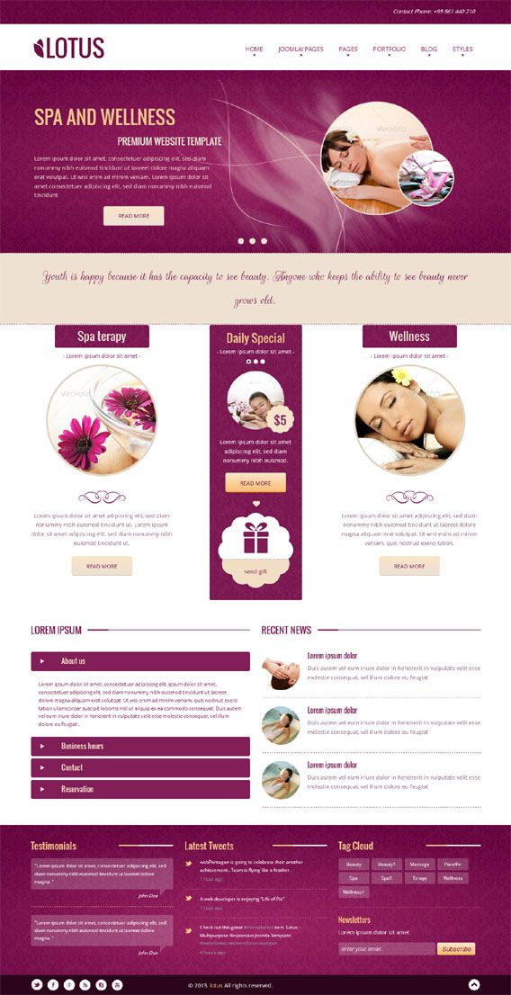 lotus joomla responsive purple spa salon template spa salon
