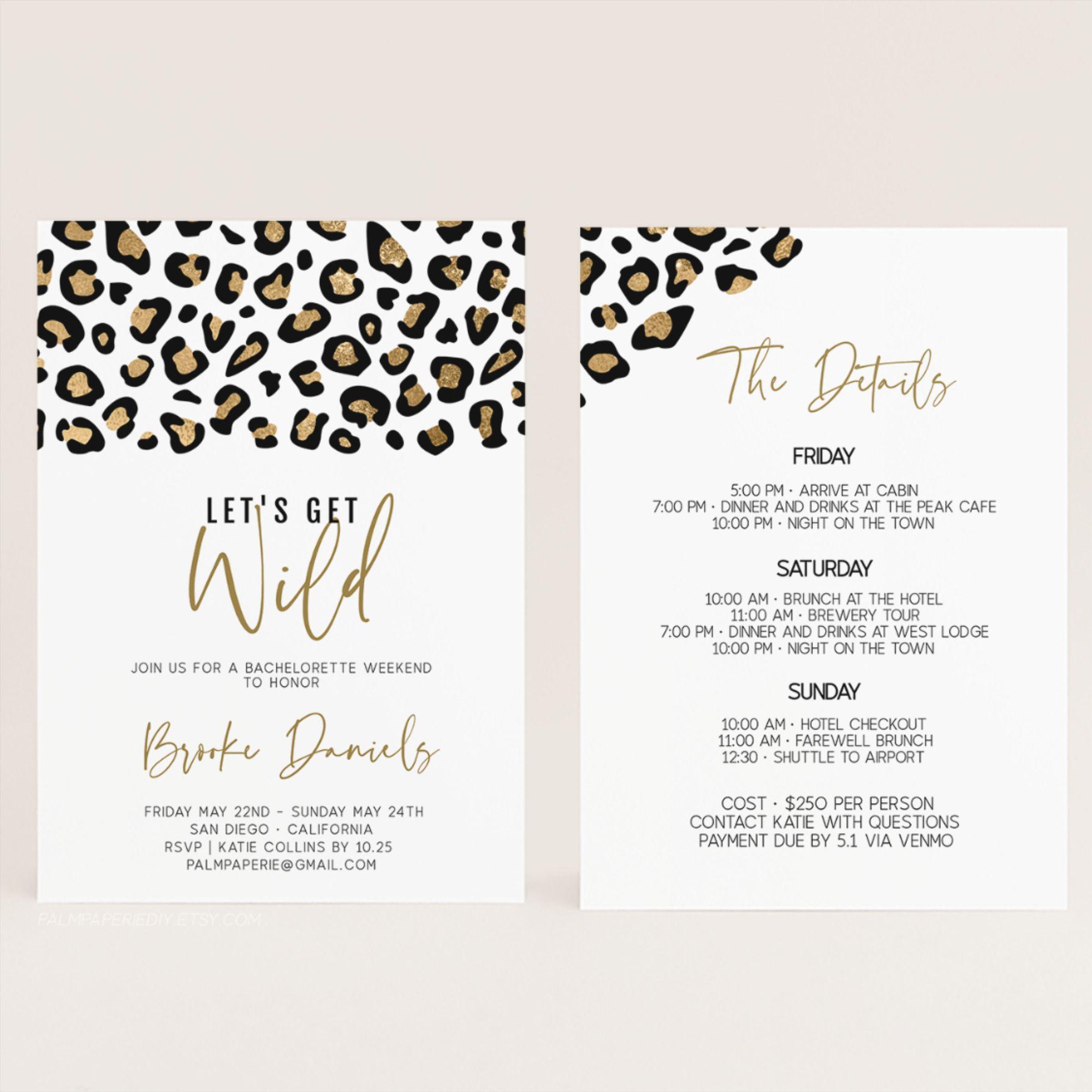 Animal Print Bachelorette Party Invitation With Itinerary Etsy Bachelorette Party Itinerary Template Bachelorette Party Itinerary Wild Bachelorette Party