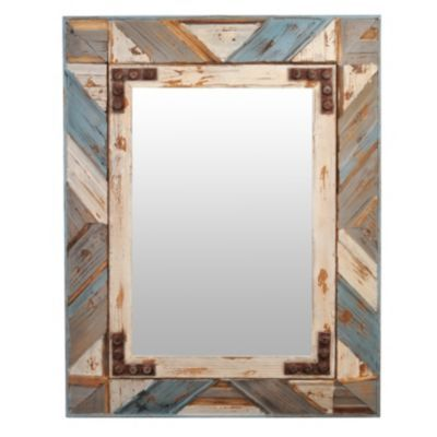 Colby Distressed Wooden Framed Mirror 27x35 In 2020 Wood Mirror Mirror Entryway Mirror