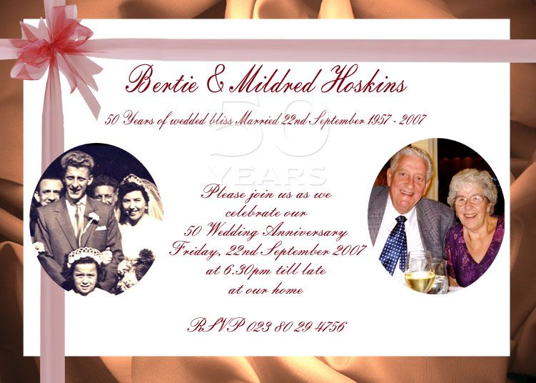 50s Wedding Invitations 50 Anneversary Avenue