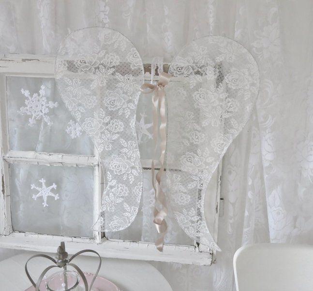 zauberhafte shabby chic engelsfl gel von weidenr schen auf weihnachten. Black Bedroom Furniture Sets. Home Design Ideas