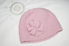 Tuto  bonnet de fille au point mousse - Noémie aussi !   tricot pt ... c7ad5573bd8