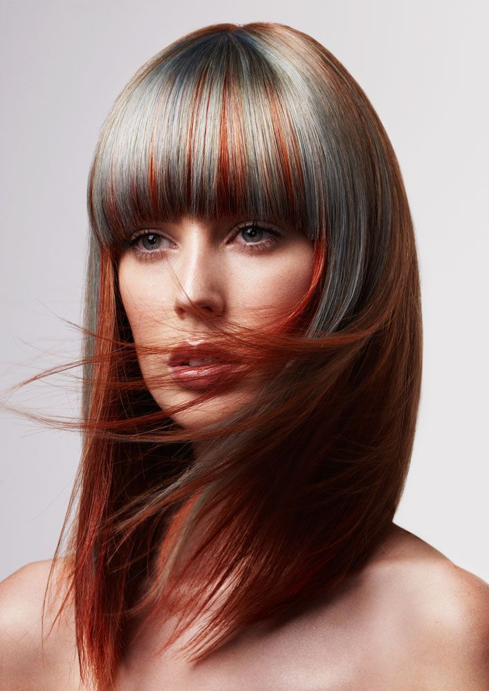 Heavy Bangs With Soft Blues And Vibrant Copper Mixing Up