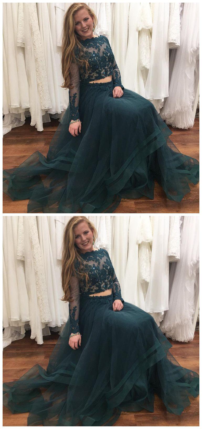 的 two piece long sleeves long prom dress higownevening