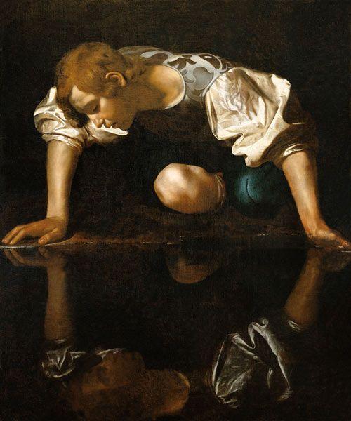 """""""Narciso"""" -- 1597-99 -- Caravaggio -- Italian -- Oil on canvas -- Gallaria Nazionale d'Arte, Palazzo Barberini, Rome"""