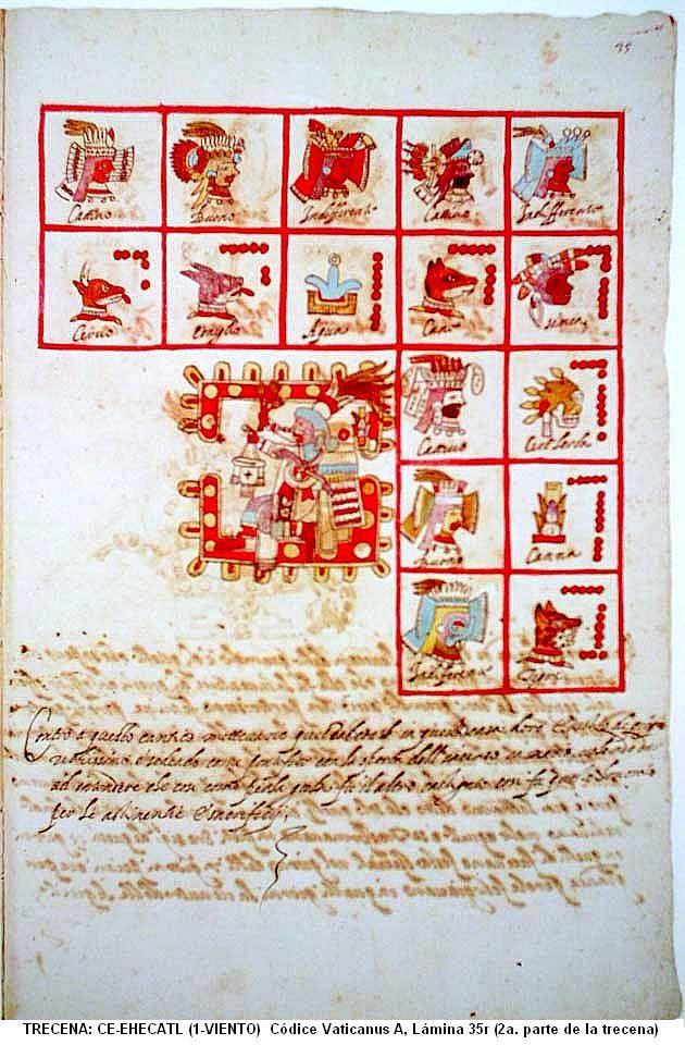 """TRECENA: CE-EHECATL (1-VIENTO) [Del 18 al 30 de Diciembre del 2015] Códice Vaticanus A, Lámina 35r (segunda parte de la trecena). También conocido como: Códice Vaticanus 3738, Códice Vaticano-Latino o Códice Ríos. Tonalpohualli es el calendario Ritual o cuenta de las Trecenas. (Equivalente a la """"semana"""" pero de 13 días) [consiste de veinte trecenas, 20x13=260 días]"""
