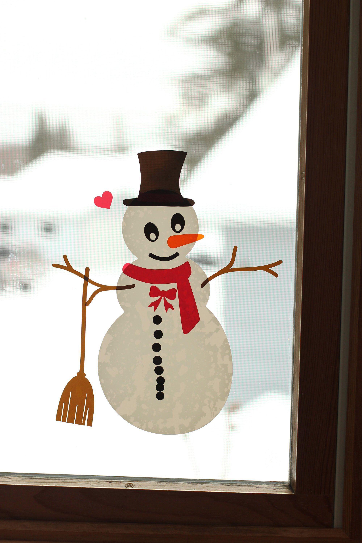 Build a Snowman Window Cling Kit Kids Christmas Decals