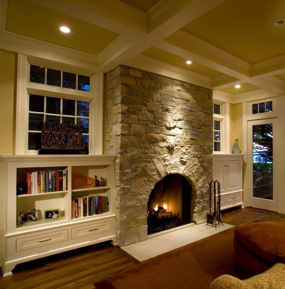 Stone Veneer Fireplace Family Room Traditional With Built
