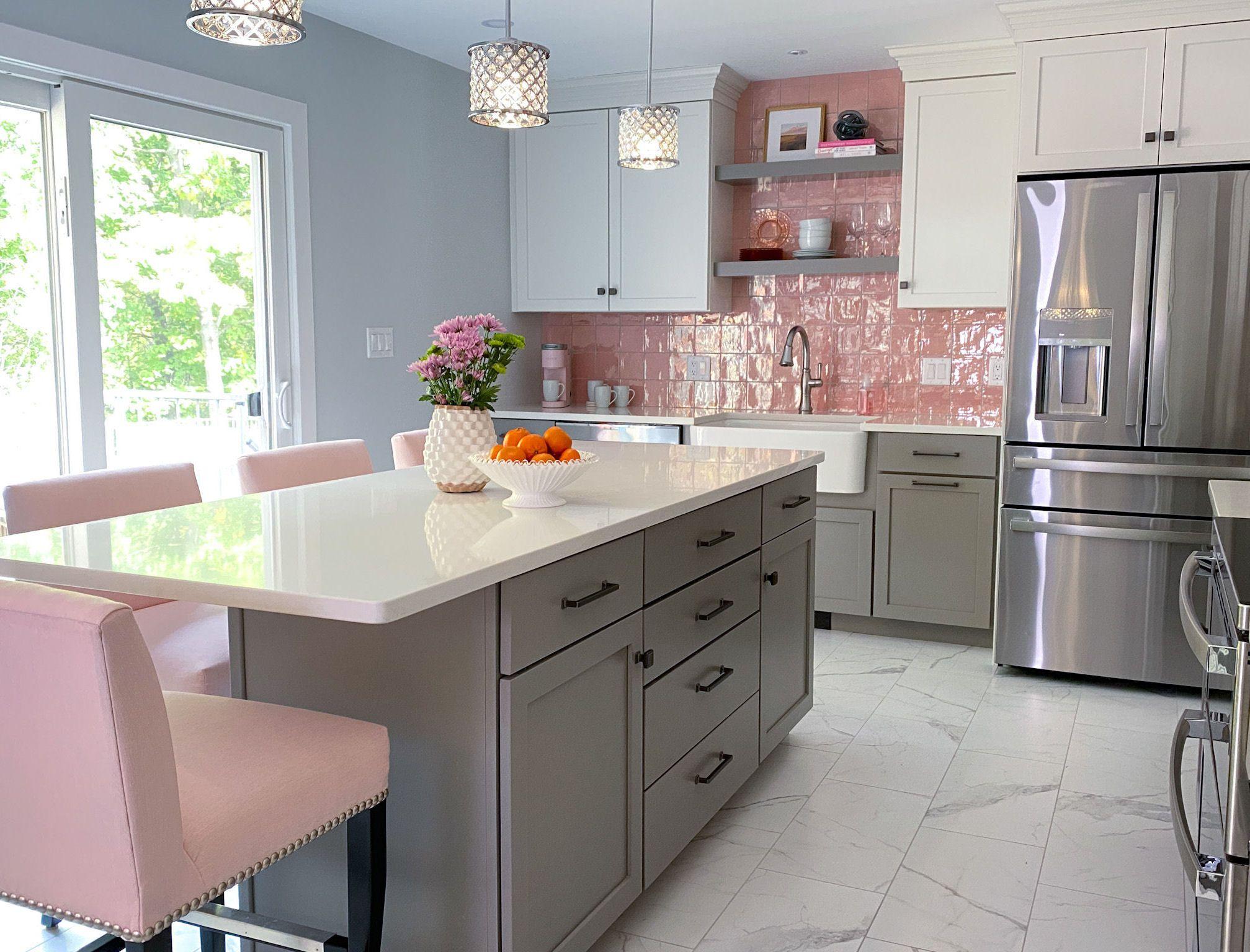 Pink Backsplash Kitchen Kitchen Design Decor Pink And Grey Kitchen Pink Kitchen