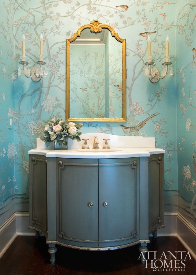majestic 1920s bathroom vanity. The exquisite custom de Gournay paper in the ground floor powder room pulls  hues from other rooms house Vanity through Renaissance Tile Bath A 1920s Jewel Box by Suzanne Kasler and