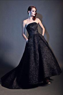 Christian Siriano Black Strapless Metallic Ball Gown Dress ...