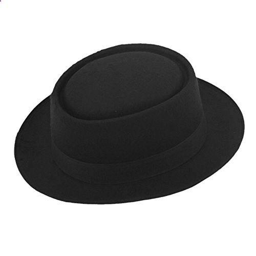 b810bcb3831 ZHENXIA Vintage Hard Felt Wool Pork Pie Hat Flat Top Rocker Fedora Cap  Black. Read more description on the website.