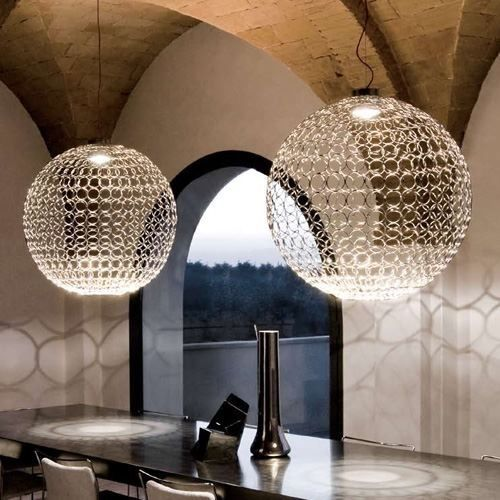 Terzani from Italy. Created by hand welding 600 metal rings together. For sale at Los Altos Lighting.