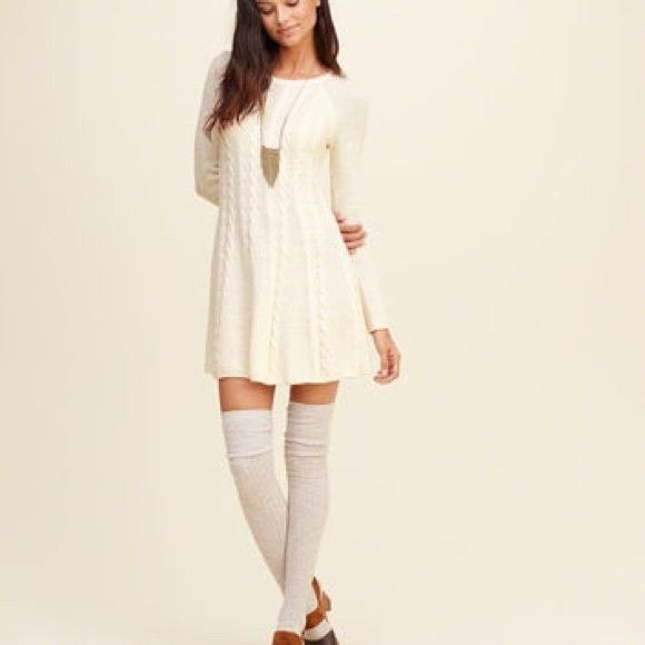 Cream Flare Sweater Dress Cream Colored Flare Cable Knit Sweater