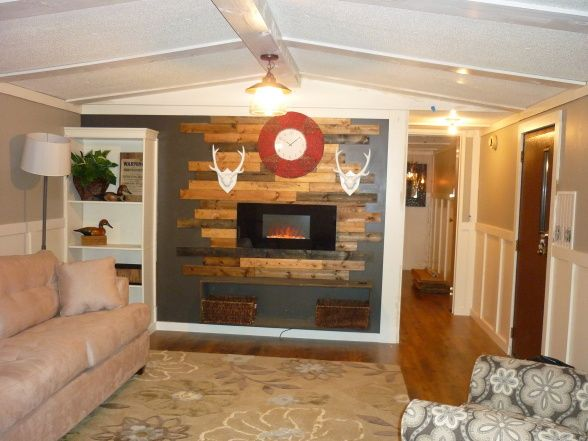 ... Mobile Home Transformation! Nice Updated Look With Electric Fireplace.  Iu0027m Not So Keen On The White Antlered Thingys.