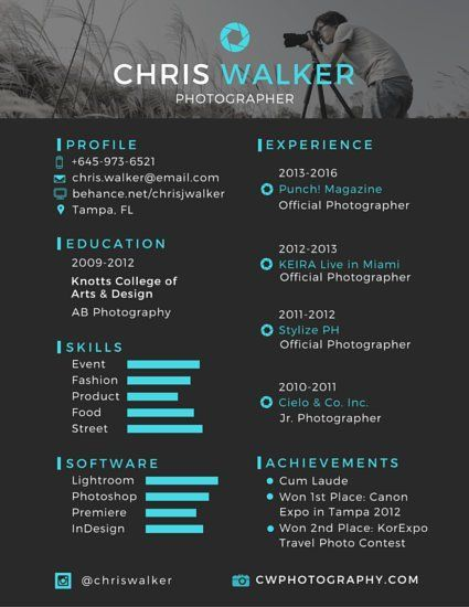 Spruce Up Your Resume With A Design Like This Just Click Through To Start Editing Your New Cv Photographer Resume Photography Resume Resume Design Creative