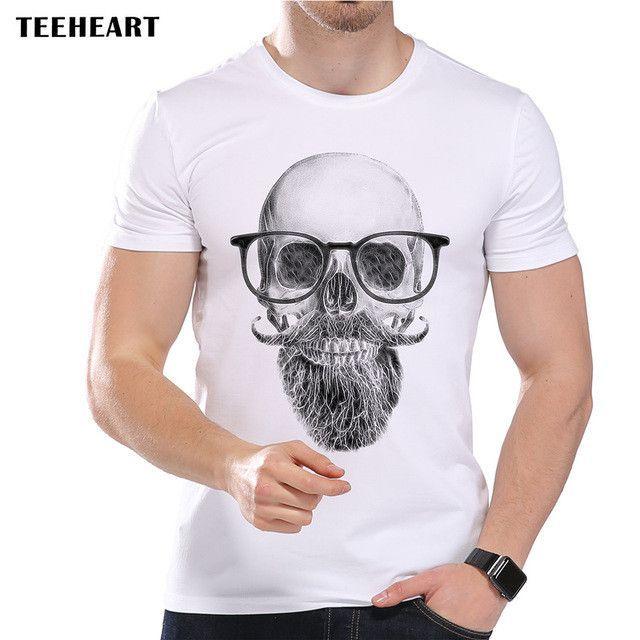 Vintage Summer Men's T-Shirt White Beard Scholar Printed Short Sleeve O-Neck Modal Hipster Tops Tees