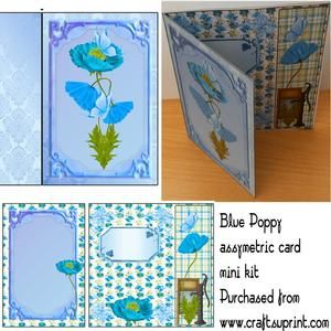 Blue Poppy Assymetrical Card Mini Kit