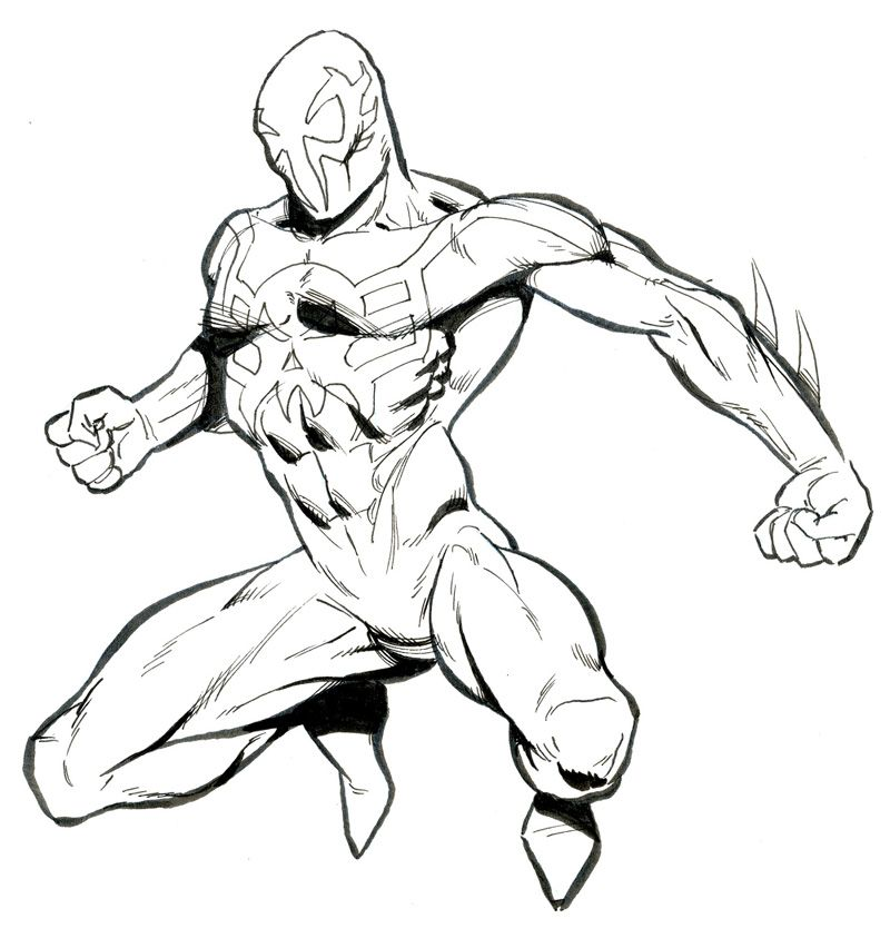 Spider Man Unlimited Coloring Pages. Spiderman 2099  Drawing Ref Pics Pinterest Spider