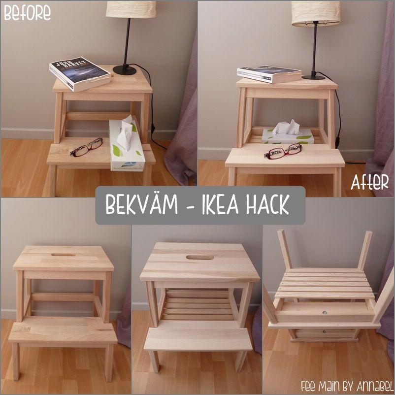 trendy bekvm als nachttisch with escabeau bois ikea. Black Bedroom Furniture Sets. Home Design Ideas