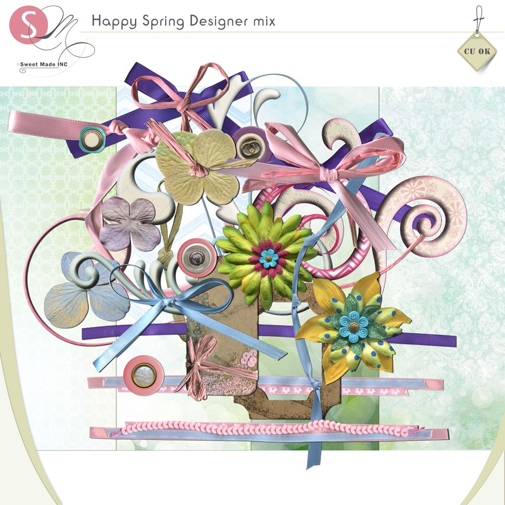 Happy Spring Designer mix | CU/Commercial Use #digital #scrapbook design tools at CUDigitals.com #digitalscrapbooking