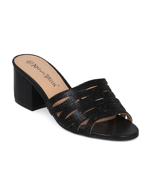 2a5e626e77 Shoes Nature Breeze HG62 Women Open Toe Strappy Rhinestone Low Block Heel  Slide